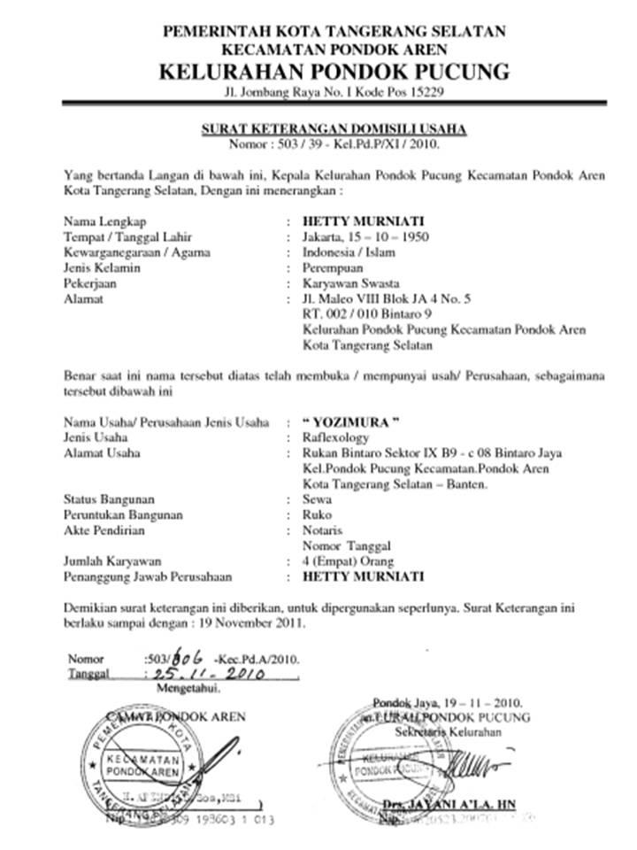 Contoh Surat Keterangan Pindah Domisili Dari Kelurahan