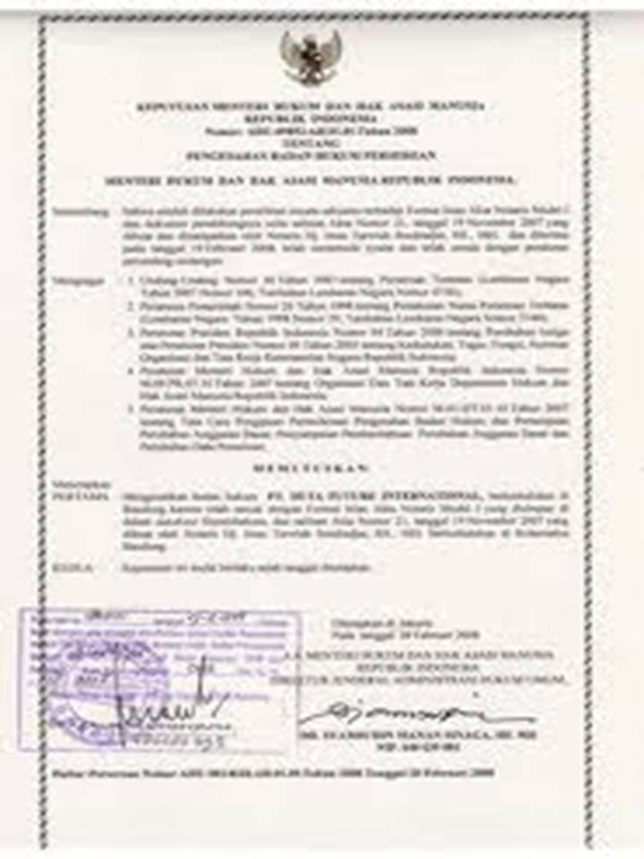 Contoh Surat Keputusan Pendirian Perusahaan